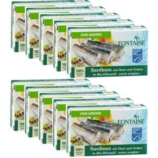 Sardinen mit Haut & Gräten in Bio Olivenöl 40x120g